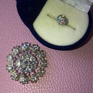 Brooch and one earring